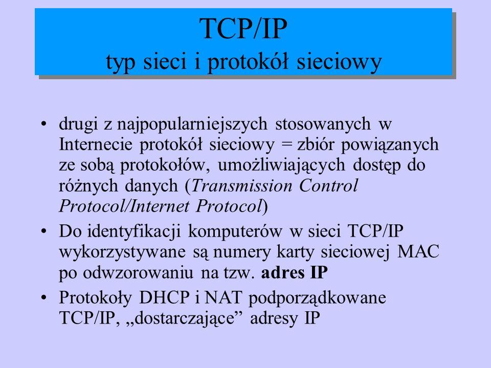 TCP/IP typ sieci i protokół sieciowy