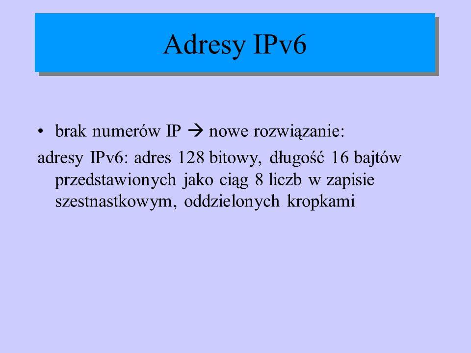 Adresy IPv6 brak numerów IP  nowe rozwiązanie: