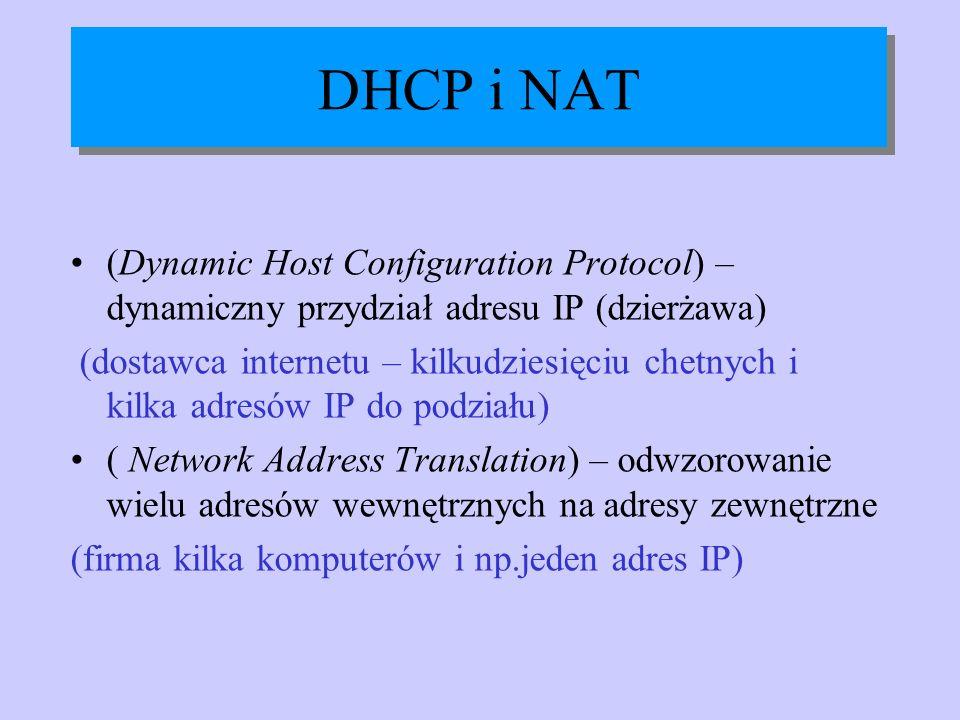 DHCP i NAT (Dynamic Host Configuration Protocol) – dynamiczny przydział adresu IP (dzierżawa)