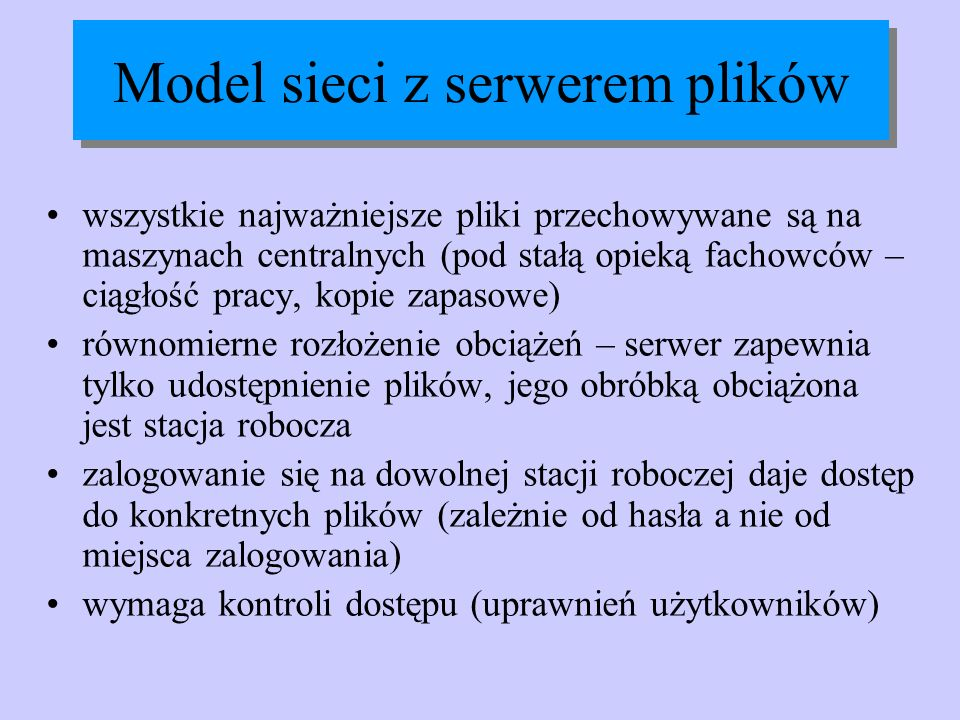 Model sieci z serwerem plików
