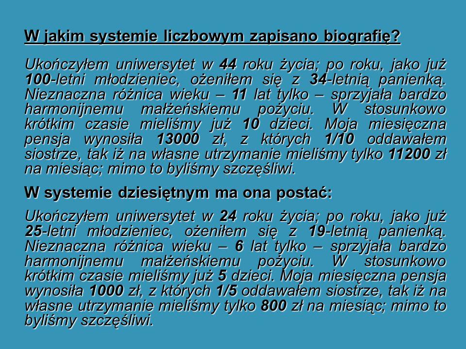W jakim systemie liczbowym zapisano biografię