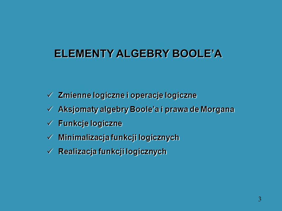 ELEMENTY ALGEBRY BOOLE'A