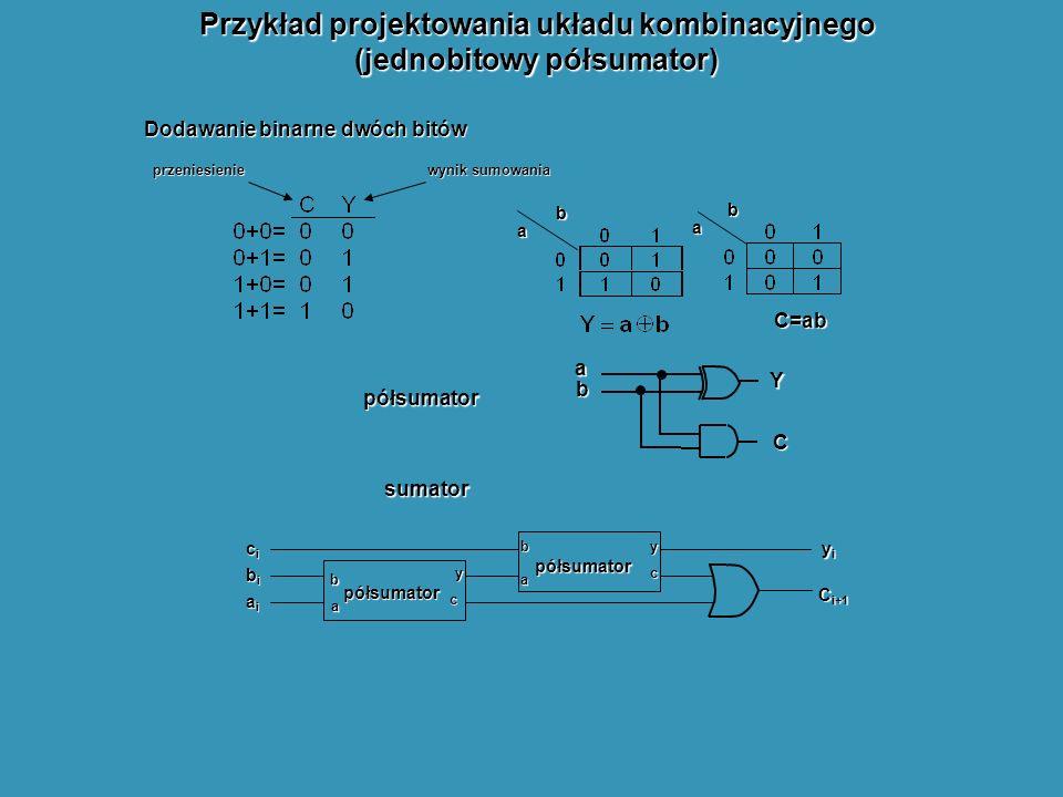 Przykład projektowania układu kombinacyjnego (jednobitowy półsumator)