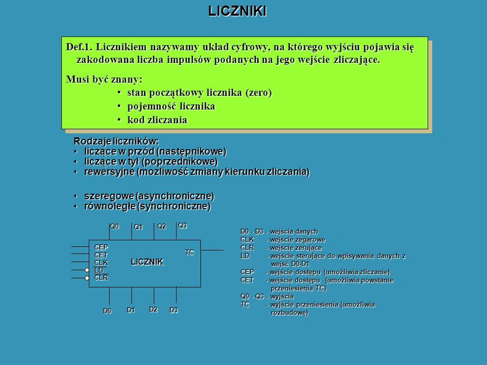 LICZNIKI Def.1. Licznikiem nazywamy układ cyfrowy, na którego wyjściu pojawia się zakodowana liczba impulsów podanych na jego wejście zliczające.