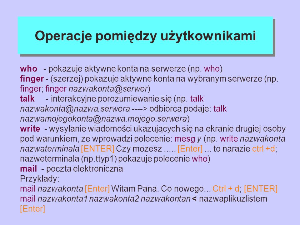 Operacje pomiędzy użytkownikami