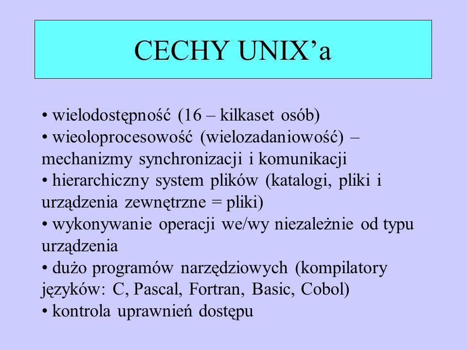 CECHY UNIX'a wielodostępność (16 – kilkaset osób)