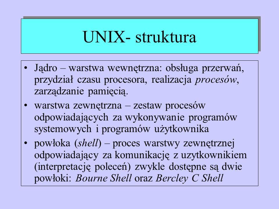 UNIX- struktura Jądro – warstwa wewnętrzna: obsługa przerwań, przydział czasu procesora, realizacja procesów, zarządzanie pamięcią.