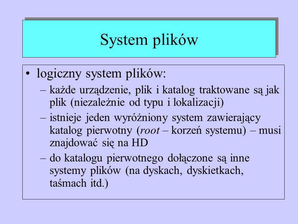 System plików logiczny system plików: