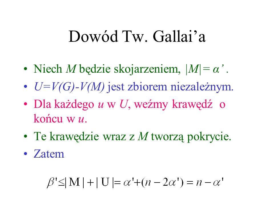 Dowód Tw. Gallai'a Niech M będzie skojarzeniem, |M|= α' .