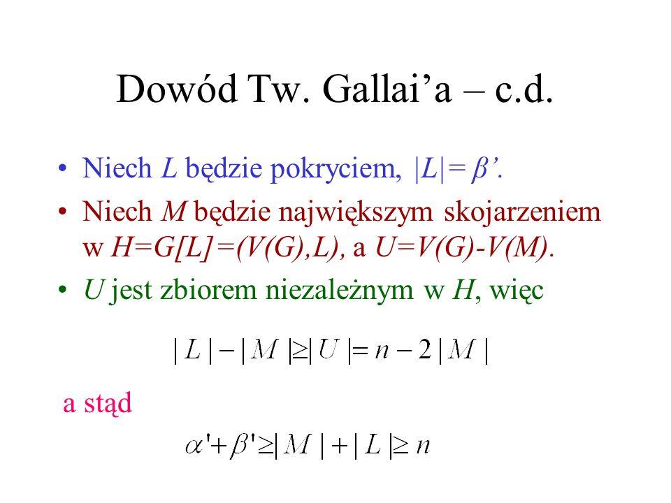 Dowód Tw. Gallai'a – c.d. Niech L będzie pokryciem, |L|= β'.