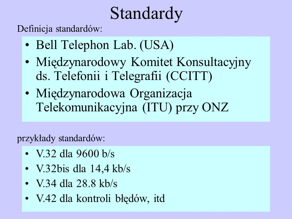 Standardy Bell Telephon Lab. (USA)