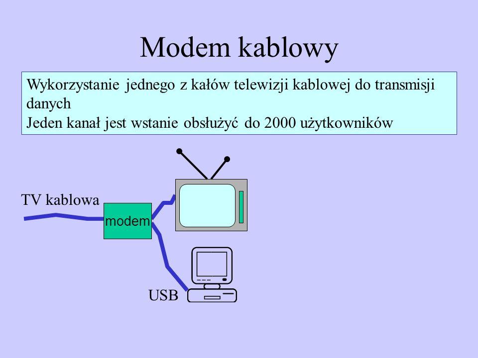 Modem kablowy Wykorzystanie jednego z kałów telewizji kablowej do transmisji danych. Jeden kanał jest wstanie obsłużyć do 2000 użytkowników.