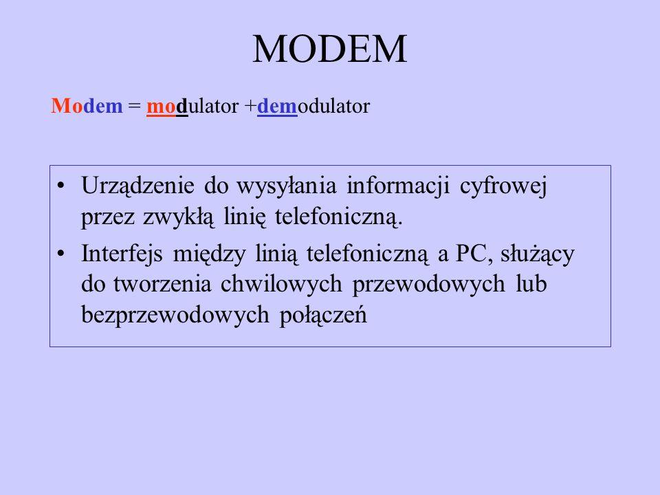MODEMModem = modulator +demodulator. Urządzenie do wysyłania informacji cyfrowej przez zwykłą linię telefoniczną.