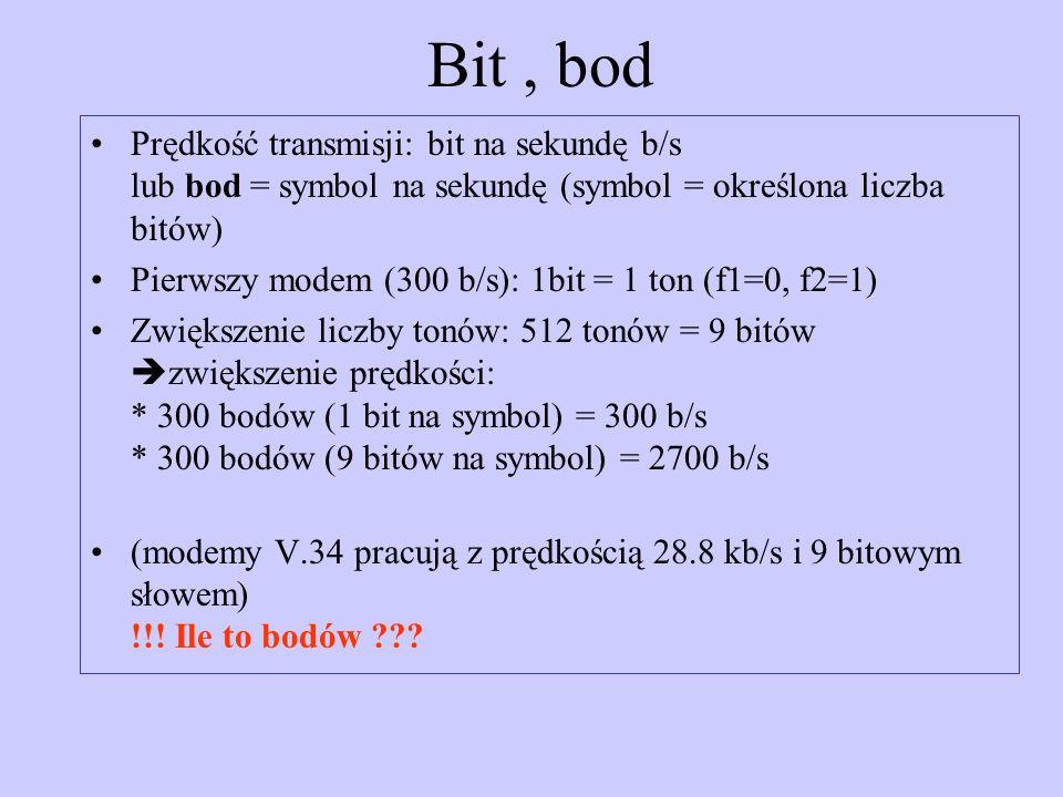 Bit , bodPrędkość transmisji: bit na sekundę b/s lub bod = symbol na sekundę (symbol = określona liczba bitów)