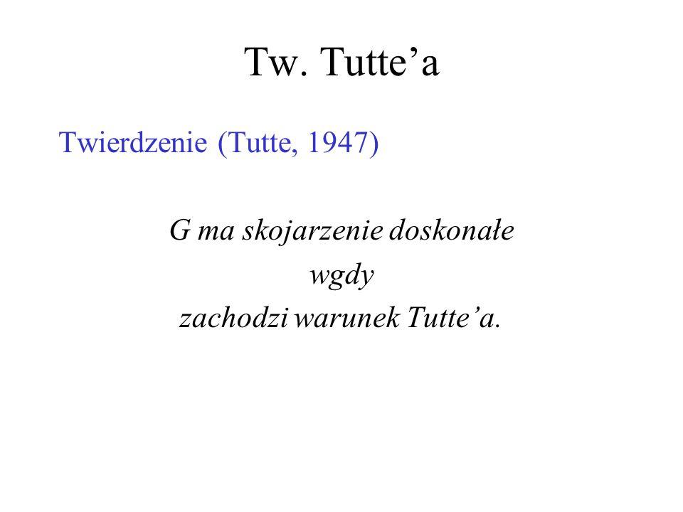 Tw. Tutte'a Twierdzenie (Tutte, 1947) G ma skojarzenie doskonałe wgdy