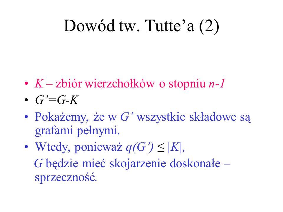 Dowód tw. Tutte'a (2) K – zbiór wierzchołków o stopniu n-1 G'=G-K