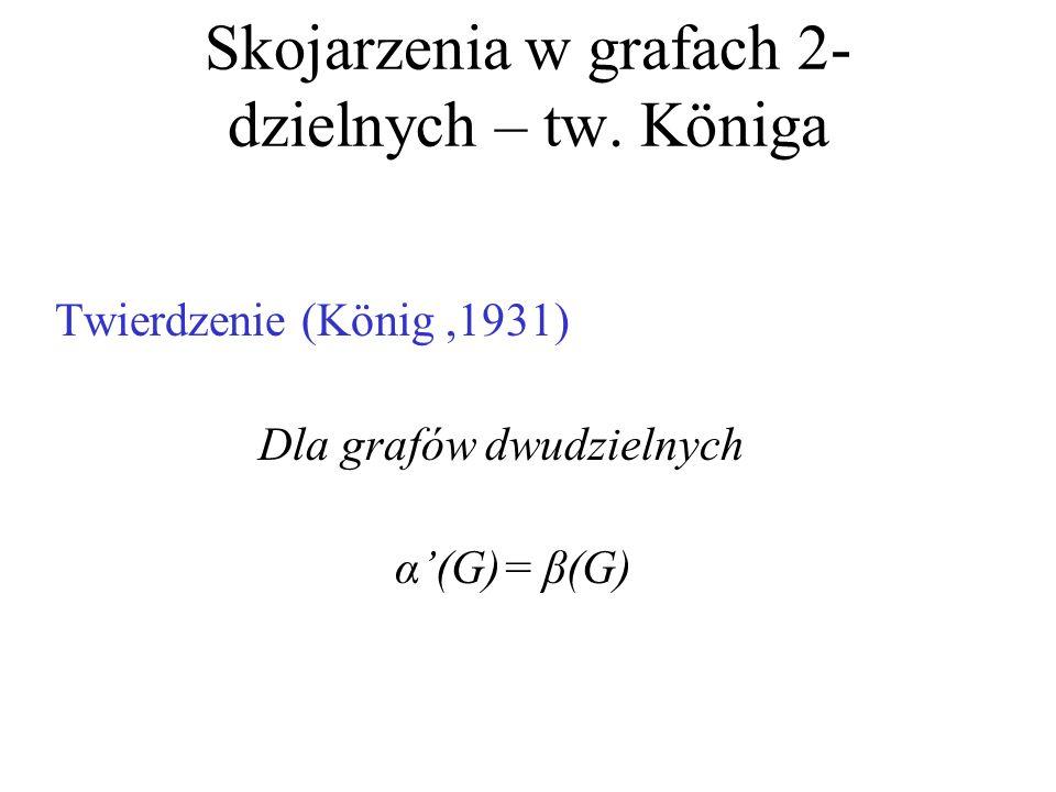 Skojarzenia w grafach 2-dzielnych – tw. Königa