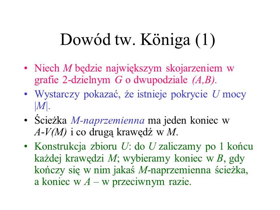 Dowód tw. Königa (1) Niech M będzie największym skojarzeniem w grafie 2-dzielnym G o dwupodziale (A,B).