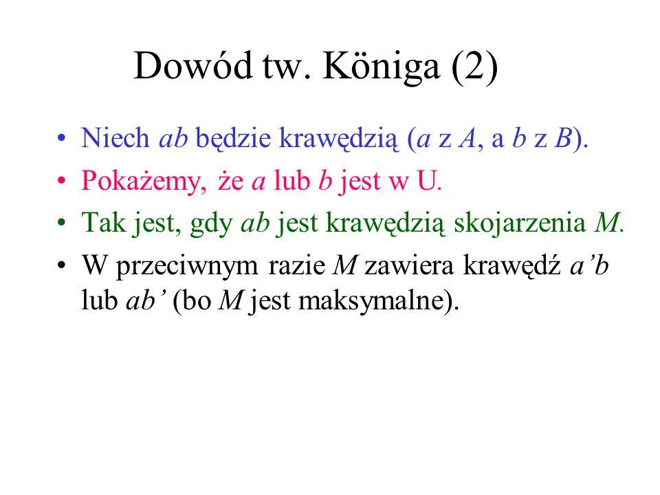 Dowód tw. Königa (2) Niech ab będzie krawędzią (a z A, a b z B).
