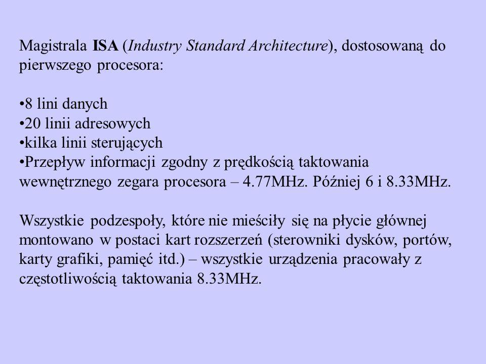Magistrala ISA (Industry Standard Architecture), dostosowaną do pierwszego procesora: