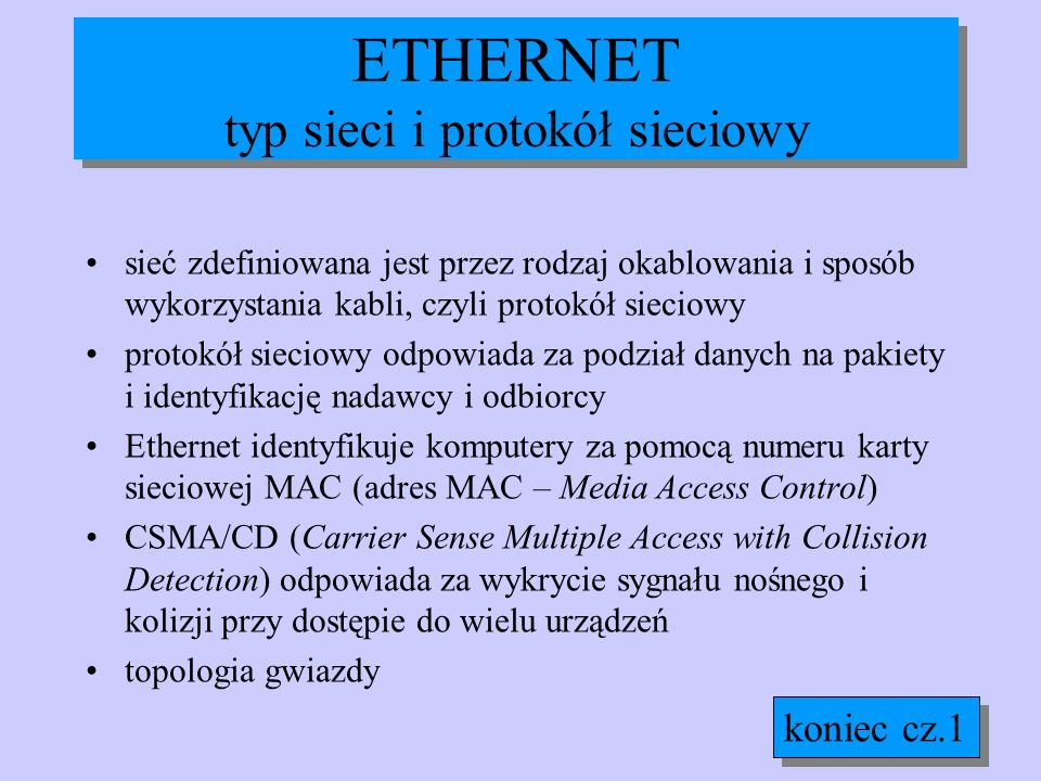 ETHERNET typ sieci i protokół sieciowy