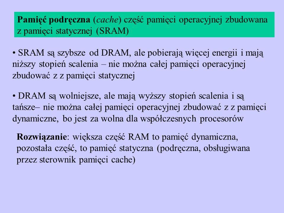 Pamięć podręczna (cache) część pamięci operacyjnej zbudowana z pamięci statycznej (SRAM)
