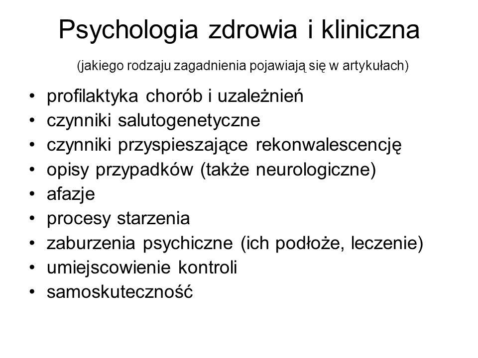 Psychologia zdrowia i kliniczna (jakiego rodzaju zagadnienia pojawiają się w artykułach)