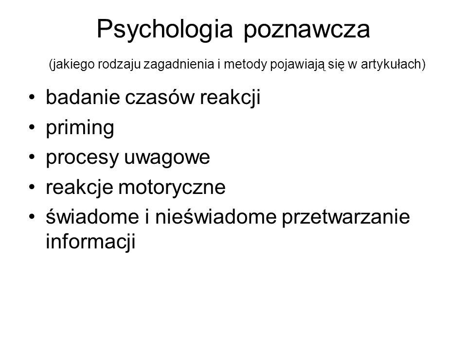 Psychologia poznawcza (jakiego rodzaju zagadnienia i metody pojawiają się w artykułach)