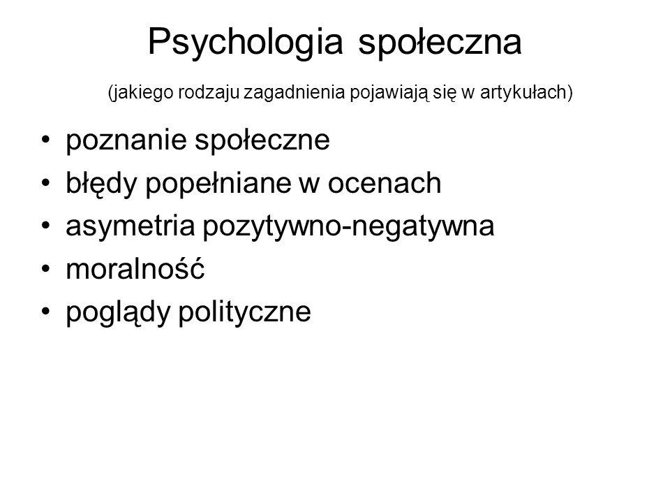 Psychologia społeczna (jakiego rodzaju zagadnienia pojawiają się w artykułach)