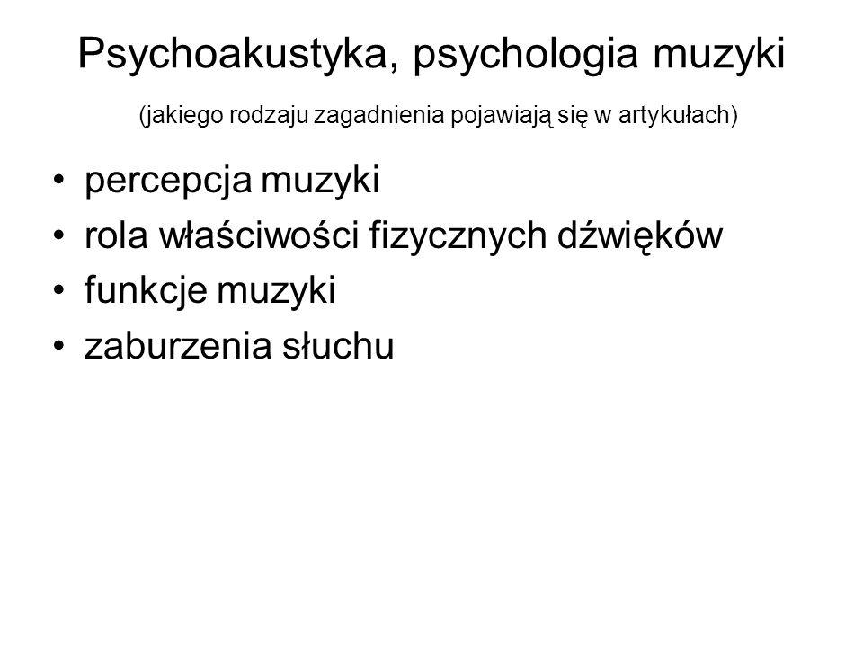Psychoakustyka, psychologia muzyki (jakiego rodzaju zagadnienia pojawiają się w artykułach)