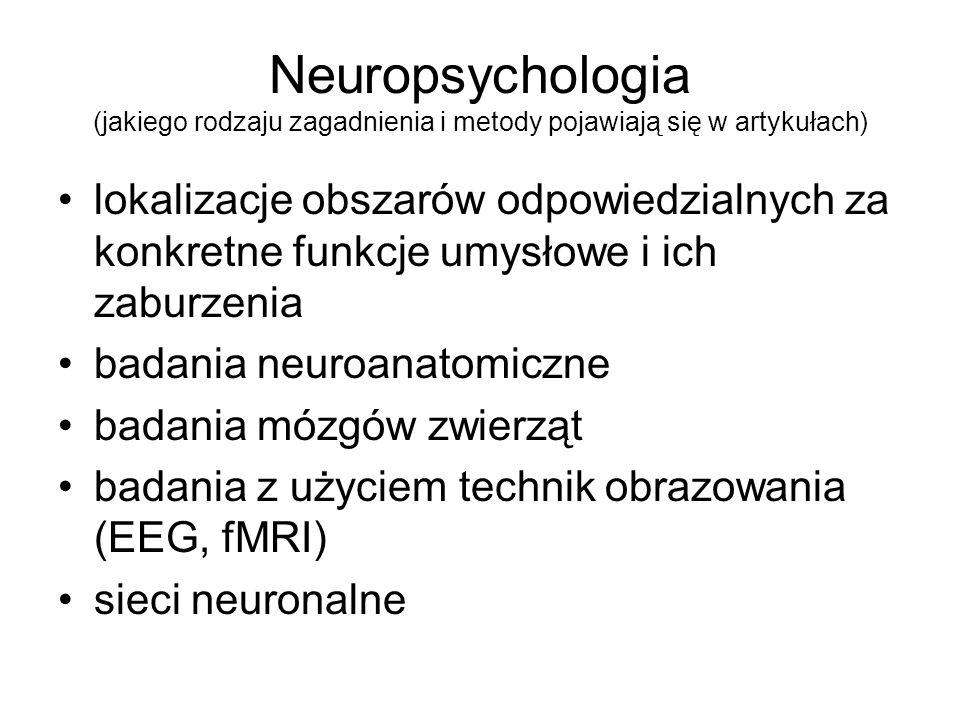 Neuropsychologia (jakiego rodzaju zagadnienia i metody pojawiają się w artykułach)