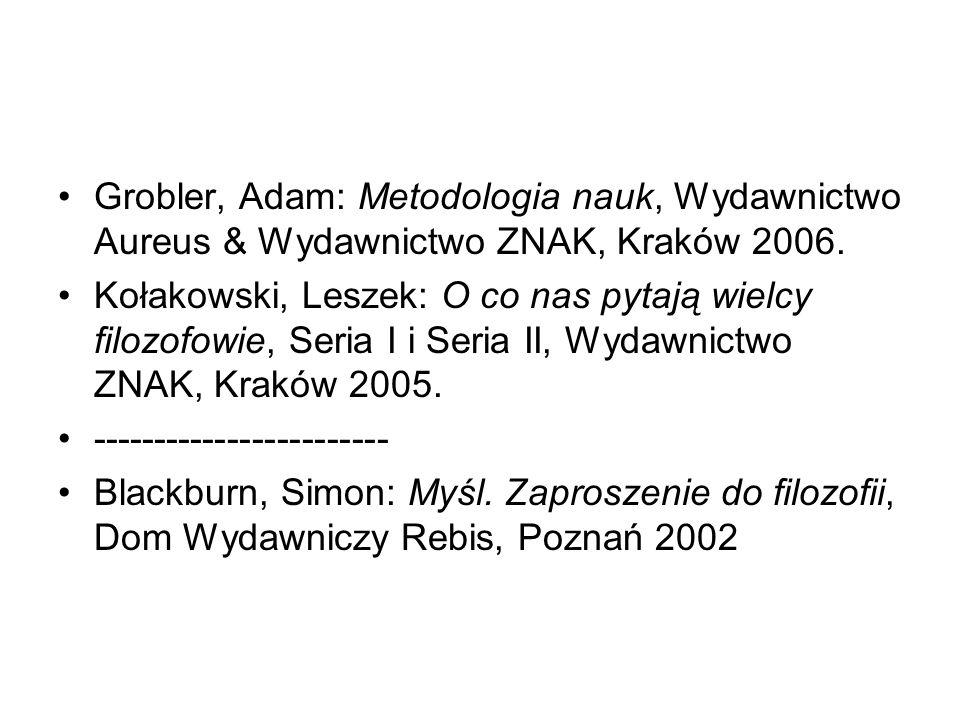 Grobler, Adam: Metodologia nauk, Wydawnictwo Aureus & Wydawnictwo ZNAK, Kraków 2006.