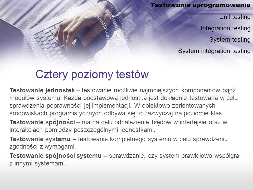 Cztery poziomy testów Testowanie oprogramowania Unit testing