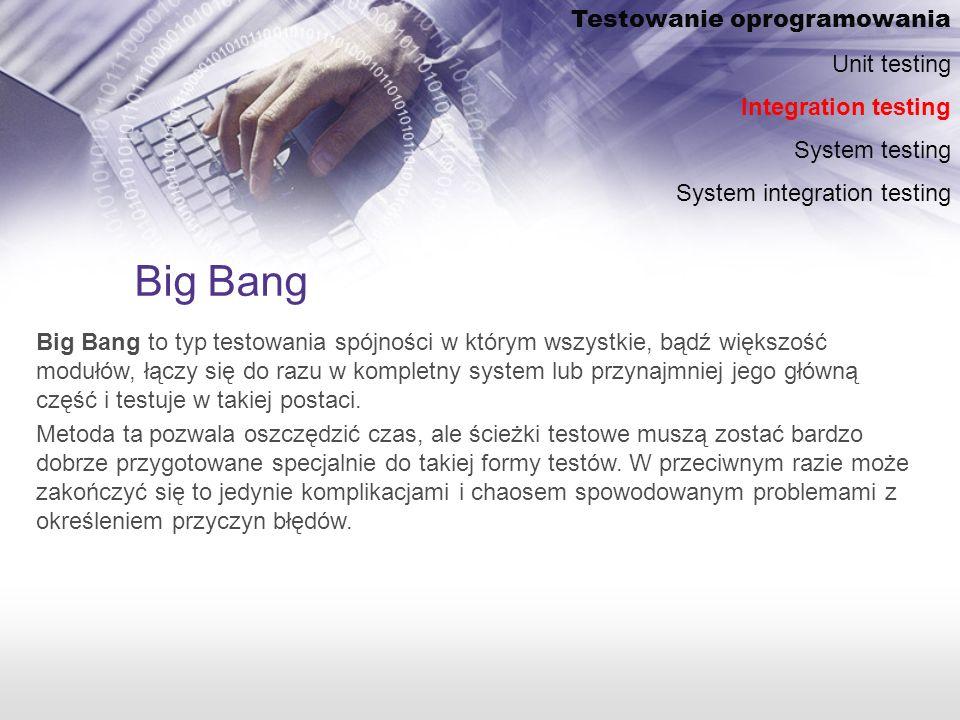 Big Bang Testowanie oprogramowania Unit testing Integration testing