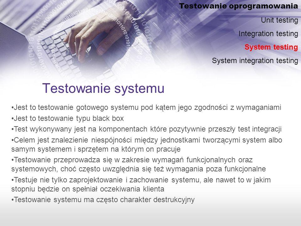 Testowanie systemu Testowanie oprogramowania Unit testing