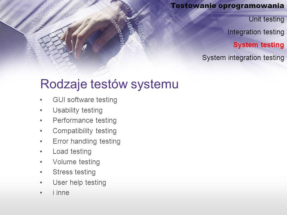 Rodzaje testów systemu