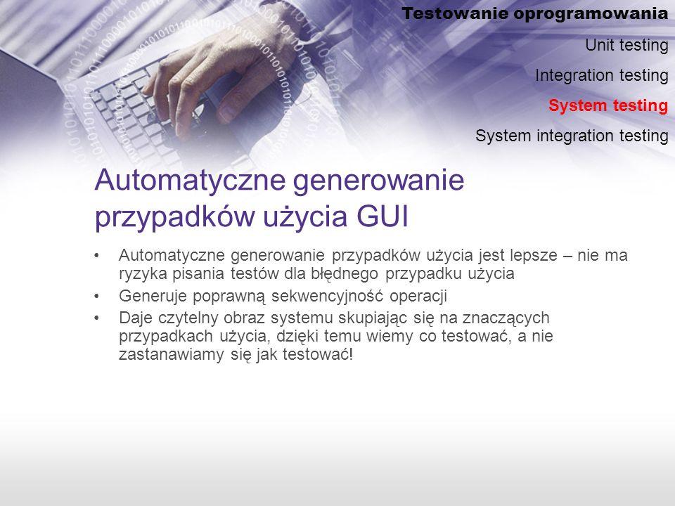 Automatyczne generowanie przypadków użycia GUI