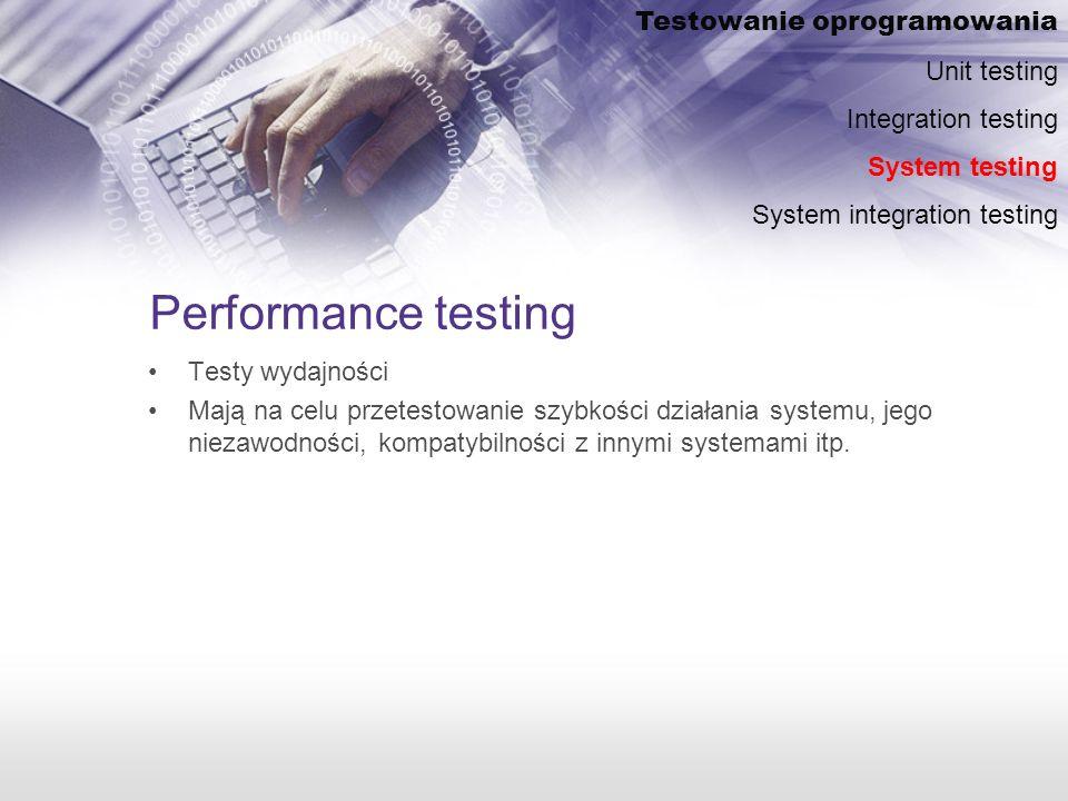 Performance testing Testowanie oprogramowania Unit testing