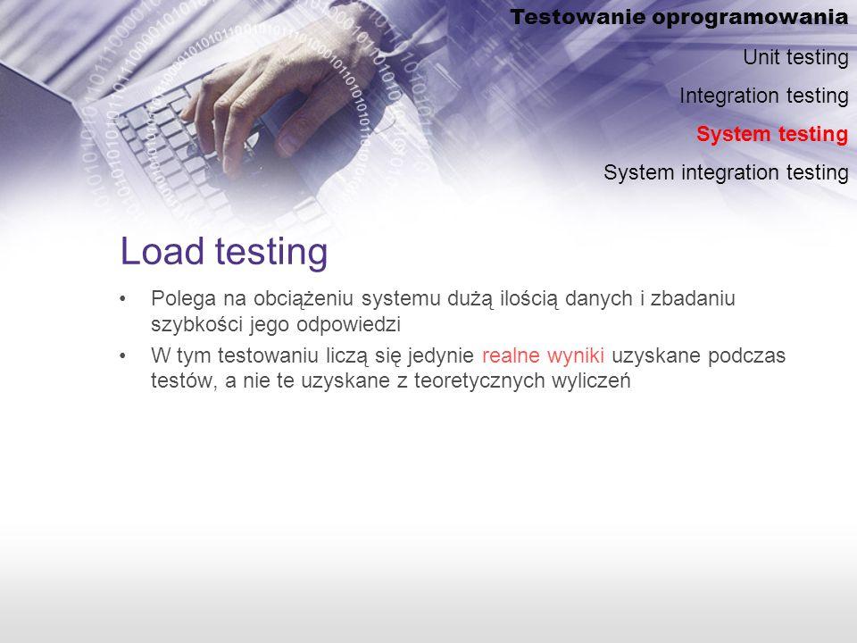 Load testing Testowanie oprogramowania Unit testing