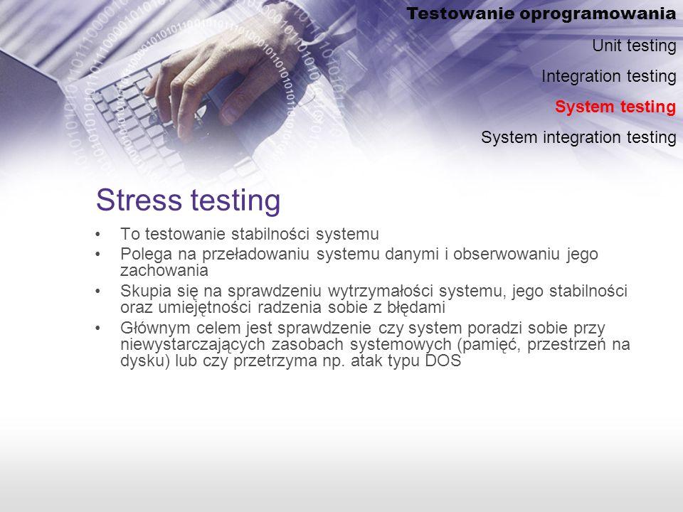 Stress testing Testowanie oprogramowania Unit testing