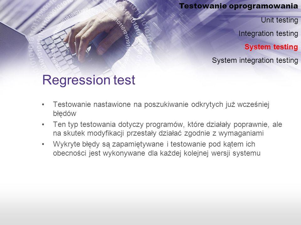 Regression test Testowanie oprogramowania Unit testing