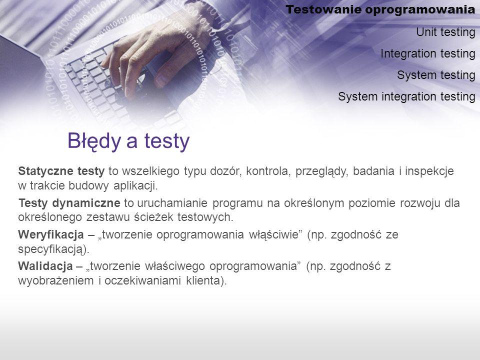Błędy a testy Testowanie oprogramowania Unit testing