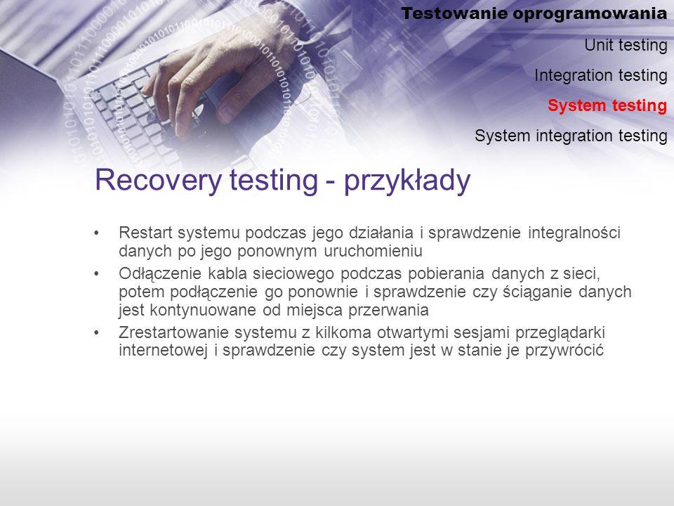 Recovery testing - przykłady