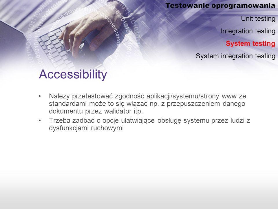 Accessibility Testowanie oprogramowania Unit testing
