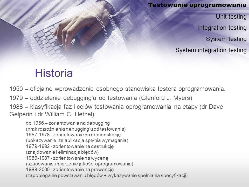 Historia Testowanie oprogramowania Unit testing Integration testing