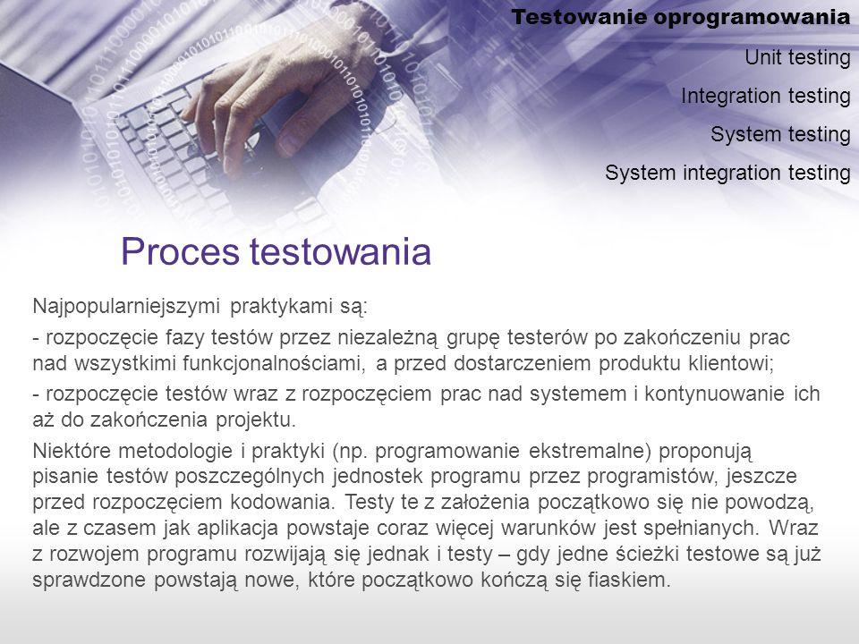Proces testowania Testowanie oprogramowania Unit testing