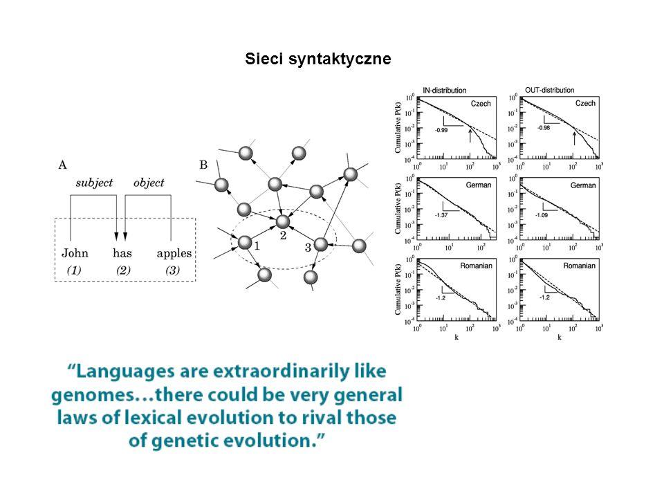 Sieci syntaktyczne Język jako adaptacja do istniejących struktur mózgowych