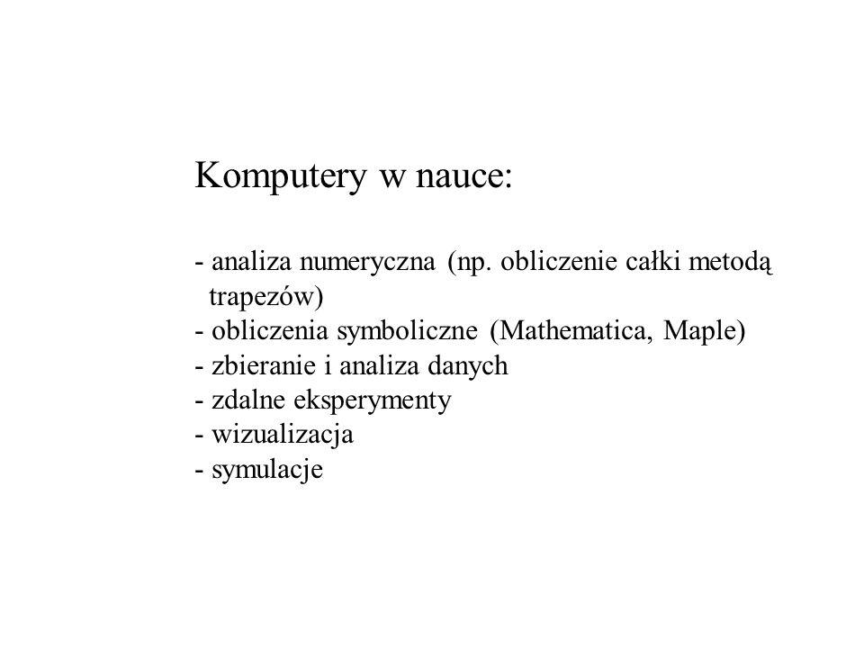 Komputery w nauce: analiza numeryczna (np. obliczenie całki metodą