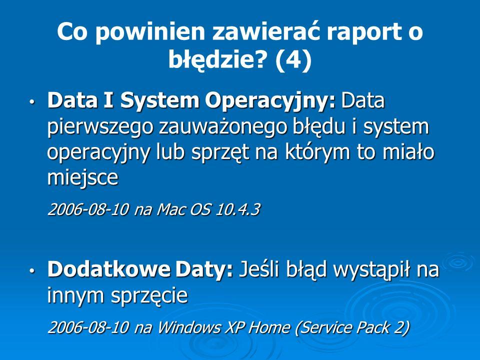 Co powinien zawierać raport o błędzie (4)