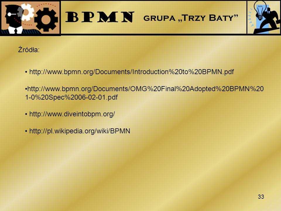 """BPMN grupa """"Trzy Baty Źródła:"""
